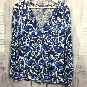 Lilly Pulitzer Blue White Long Sleeve Shirt S